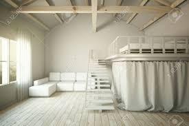 wohnzimmer design mit sofa und erhöhten schlafzimmer abschnitt 3d übertragen