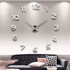 Wholesale Home Decoration Big Number Mirror Wall Clock Modern Design Large Designer 3d Watch Unique Gifts 1611371 Wooden Clocks For
