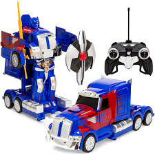 100 Semi Truck Toy Best Choice Products 27MHz Transforming Robot RC W Dance Modes Music Sword Shield BlueRed