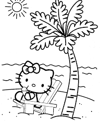 Hello Kitty At The Beach Coloring Page For Kids And Adults From Cartoon Characters Pages