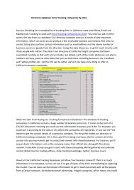 100 Trucking Companies California List Of Trucking Companies By State By CharlotteTheodore896 Issuu