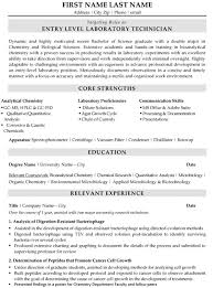Laboratory Technician Resume Sample Template Rh Resumetarget Ca Lab Tech Format Objective Statement