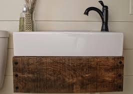 Shabby Chic Bathroom Vanity Unit by Remodelaholic Reclaimed Wood Floating Vanity