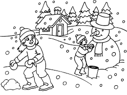 Winter Scene Coloring Pages Free For Adults Archives Page Pictures