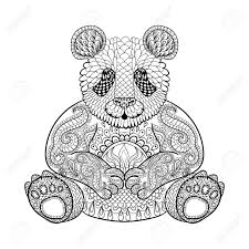 Hand Drawn Tribal Panda Animal Totem For Adult Coloring Page In Zentangle Style Illustration