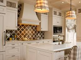 Modern Warm Nuance Of The Fasade Backsplash Plus Cozy White Cabinets Matched With Countertop For Kitchen