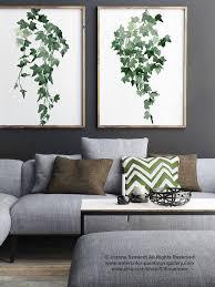efeu aquarell malerei set 2 botanische pflanzen wand dekor