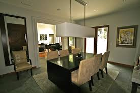 Rectangular Light Fixture Dining Room Contemporary With Beige Tile