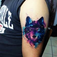 Watercolor Wolf Tattoo For Men