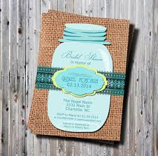 Any Color Mason Jar Bridal Shower Invitation Burlap And Lace DIY Rustic Rehearsal Dinner Wedding Invitations Teal Yellow