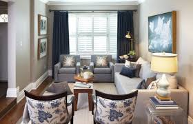 Toile Fabric Add Cool Color And Chic Pattern To Contemporary Living Room Blue Gray