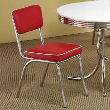 Chrome Plated Side Chair Red Set Of 2 By Coaster Furniture Round Retro Dining