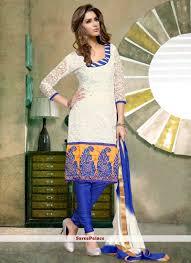 White Shade Cotton Brasso Churidar Salwar Suit