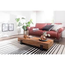 wohnling couchtisch soron 115x22x44cm sheesham massivholz metall sofatisch design wohnzimmertisch modern stubentisch braun schwarz designer