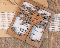 Rustic Wedding Invitation Tree Kraft Set Personalized Invitations