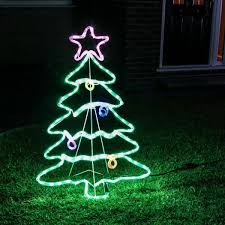 Outdoor Rope Light Christmas Tree Motif Multi Coloured Twinkling LEDS