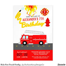 Firefighter Party Theme Red Fire Truck Birthday Magnetic Invitation ...
