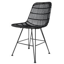 esszimmerstuhl aus metall rattan schwarz 80x44x57cm