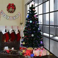 Costway 6FT Pre Lit Fiber Optic Artificial Christmas Tree W Multicolor Lights Snowflakes 0