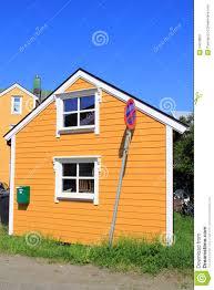 100 Ochre Home House Of Kabelvoag In Lofoten Stock Image Image Of