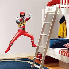 Superhero Wall Decor Stickers by Power Rangers Dino Charge Red Decal Removable Graphic Wall Sticker