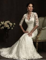 Vintage Lace V Neckline Wedding Dress With Three Quarter Sleeves