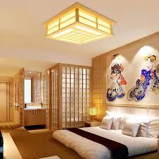 japanische deckenleuchte led aus holz für wohnzimmer