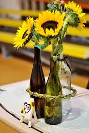 Creative IdeaAwesome Yellow Sunflowers In Clear Blue Mason Jar Centerpieces On White Party Table