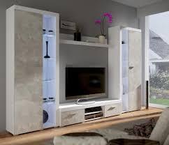 top wohnwand rumba xl anbauwand wohnkombi wohnzimmer beton optik weiss matt