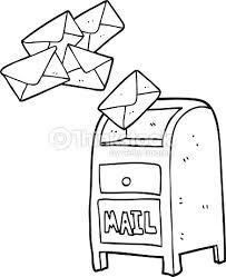 black and white cartoon mail box Vector Art