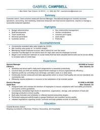 General Manager Food And Restaurant Thumbnail Resume Sample