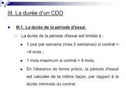 periode d essai cadre les différents contrats de travail plan le cdd introduction i