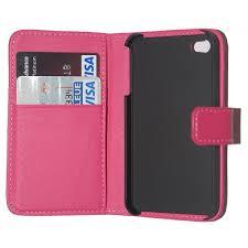 housse etui en cuir fushia ouverture portefeuille pour iphone