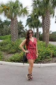 Fashion Blogger In Cupcakes And Cashmere Fitz Cherry Blossoms Romper Cranberry