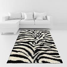 Soft Shag Area Rug 6 7″ x 9 3″ 79″ by 111″ Zebra Animal Print