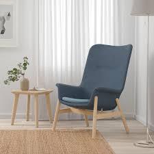 vedbo sessel mit hoher rückenlehne gunnared blau ikea