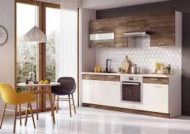 komplett küche 240 cm schränke küchenzeilen akazie vanilla hochglanz