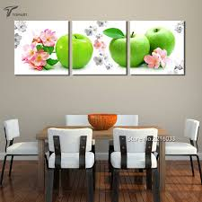 Buy Home Decor Wall Art Green Apple And Red Flower Painting Kitchen Canvas Printings Real Photos Set Of 3 Panels No Frame From