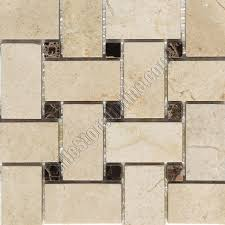 marble mosaic tile crema marfil basket weave with emperador