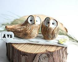 Ready To Ship Love Owls Owl Cake Topper Clay Rustic