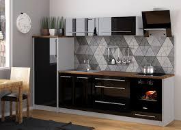 küchenzeile platinum einbauküche 280cm grau fronten mdf schwarz hochglanz