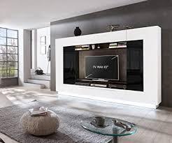 homeface wohnkombination 4 teilig sensis va 02 front mdf farbe front hochglanz weiß korpus weiß schwarz ohne led beleuchtung ohne dekoration