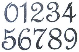 Rustic Spanish Style Hammered Wrought Iron Address Number