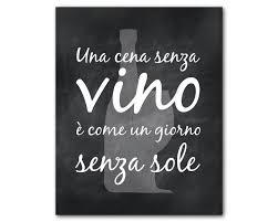 Italian Kitchen Wall Art Wine Una Cena Senza Vino E