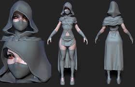 Hooded Female Assassin Rogue WIP Polycount