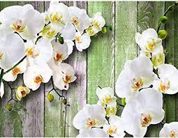 fototapeten 396 x 280 cm 3d orchidee holz vlies wanddekoration wohnzimmer schlafzimmer deutsche manufaktur weiss 9057012c