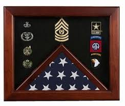 Military Flag Medal Display Case Mahogany Wood For 3x5