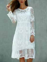 long sleeve dresses white one size fit size xs to m lace