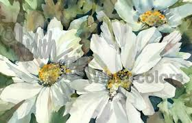 White Flower Garden Watercolor Painting Giclee Print Wall Art