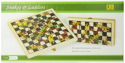 CHH Folding Wooden Snakes and Ladders Game Toy